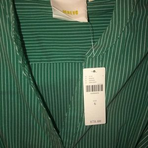 Anthropologie Tops - Anthropologie Maeve Green stripe tie-front blouse